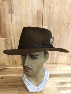 a3ef0387077 Items similar to rich brown mens fur felt fedora with braided leather  hatband and feather accent on Etsy