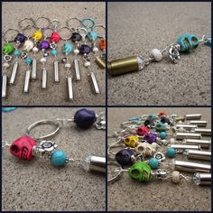 Skull & shell casing key chain. $7.00, via Etsy.