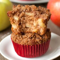 These cinnamon whole wheat apple muffins are made healthier with whole grains, oil and less sugar! Super moist and pretty quick and easy to put together.