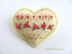 Felt Embroidered Heart Pin by Beedeebabee on Etsy, $21.00
