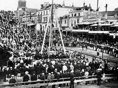 laying of the foundation stone for the new Melbourne town hall, cnr of Collins St & Swanston St. We are looking across Collins Street to the approximate location of the City Square/Regent today. Melbourne Victoria, Victoria Australia, Melbourne Activities, Queen Victoria Children, Melbourne Suburbs, Australian Continent, Kingdom Of Great Britain, Largest Countries, Melbourne Australia