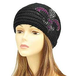 Black Fluer De Lis Knit Headwrap In Stock $20