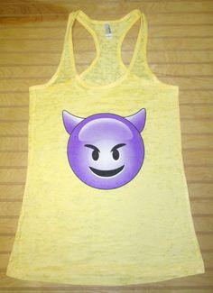 Burnout Racerback Tank Top Emoji Sneaky Devil