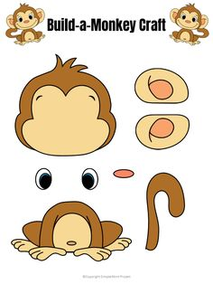 Use this cute baby monkey template to build your own monkey craft! He's the perfect zoo animal friend to take along on a field trip or creative time at home Safari Crafts, Zoo Crafts, Monkey Crafts, Monkey Art, Animal Crafts For Kids, Toddler Crafts, Preschool Crafts, Felt Crafts, Jungle Crafts Kids