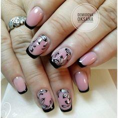 Pink Black Nails, Nail Tip Designs, Minimal Chic, French Nails, Manicures, Nail Tips, Cute Nails, Tattos, Short Nails
