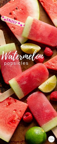Watermelon Popsicles with raspberry & lime - lightly sweetened & loaded with fresh fruit these delicious frozen treats are great for summer snacking Summer Snacks, Summer Recipes, Holiday Recipes, Summer Bbq, Party Recipes, Watermelon Pizza, Watermelon Popsicles, Most Delicious Recipe, Delicious Desserts