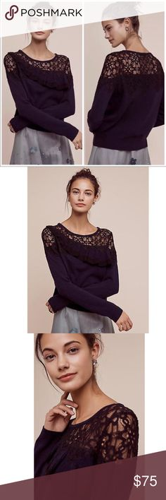 Anthropologie pullover by Knitted & Knotted Anthropologie mixed media pullover by Knitted & Knotted Size small Lace and ruffle detail Stunning! Excellent pre-loved condition Photo of actual item to be posted tomorrow Anthropologie Tops