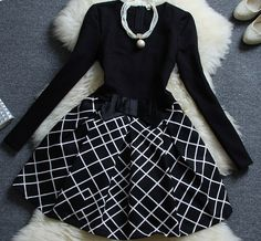 Stretch Cotton Long-Sleeved Plaid Stitching Two-Piece Dress
