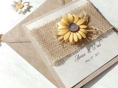 Handmade sunflower wedding invitation/Burlap invite/Kraft