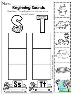Beginning Sounds- Say the name of each picture and dot the