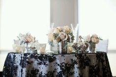elegant wedding reception tables ivory dusty rose wedding flowers and Reception, Wedding Table Linens, Wedding Reception Tables, Wedding Table Settings, Bridal Table, Wedding Receptions, Wedding Mandap, Wedding Stage, Reception Ideas, Trendy Wedding