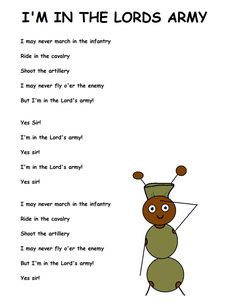 Im In The Lords Army Song Lyrics here.I may never march in the infantry Ride in the cavalry Shoot the artillery I may never fly o'er the enemy But I'm in the Lord's army! Bible Songs For Kids, Songs For Toddlers, Bible Study For Kids, Bible Lessons For Kids, Childrens Bible Songs, Children Songs, Kids Music, Piano Lessons, Sunday School Songs