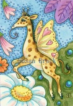 GIRAFFE IN THE GARDEN - Sighting of a rare Giraffe Butterfly.  Susan Brack Original Whimsy Fairy Illustration Art EBSQ ACEO