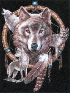 PDF Cross Stitch Pattern of a Wolf Dreamcatcher M18 by heyjude6459
