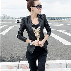 Women's High-End Water-Washed Leather Zipper Leather Coat – USD $ 33.59