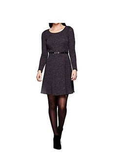Black Knitted Belt Dress With Long Sleeves