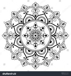 Circular Pattern In The Form Of A Mandala Henna Tatoo Mehndi Style Decorative Oriental Coloring Book Page