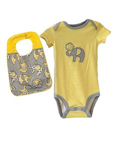 Look what I found on #zulily! Yellow & Gray Lil' Peanut Embroidered Bodysuit & Bib by Blossoms & Buds #zulilyfinds