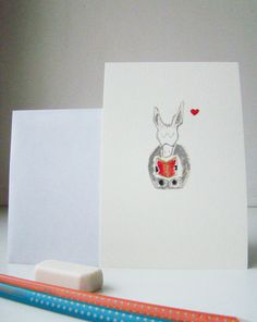 small reading donkey greetings card, postcard