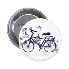 Bicycle and Floral Ornament 5 Pinback Button
