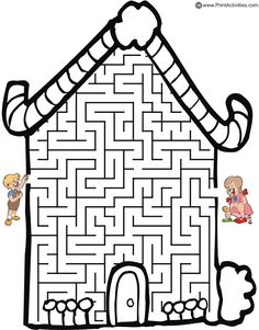 Hansel and Gretel candy cottage shaped maze from PrintActivities.com