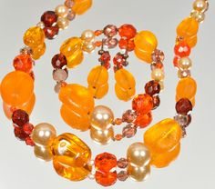 Czech Glass Bead Necklace, Earring and Bracelet Set NEW Orange Tones