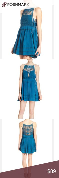 Free People Women's Blue Emily Crochet Dress XS Gorgeous brand new Free people Dress with tags! XS Free People Dresses Mini