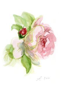 Tender Pink Rose Painting Flower Fine Art por VerbruggeWatercolor