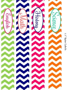 Go back to school in style! Put some color into your day with this adorable set of chevron binder covers. This is a set of 4 binder covers