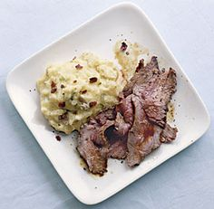 Smoky Rib-Eye Steaks with Loaded Mashed Potatoes.  love cooking steaks this way -- smoked paprika, salt and pepper.