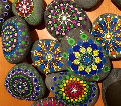 A pretty collection of painted mandala rocks!