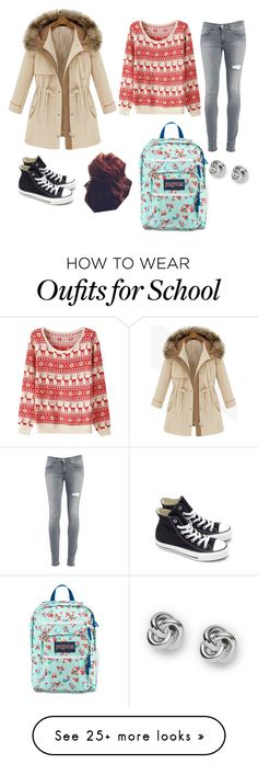 """School days"" by caitlinskatelin21 on Polyvore featuring Dondup, Converse, FOSSIL and JanSport"