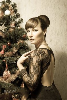 Beautiful woman with Christmas tree- vintage card by Scarlet Starlet on 500px