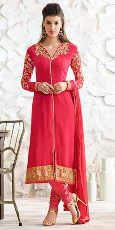 Superb Red Georgette Straight Suit.