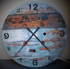 Upcycled cable reel oversized clock. http://www.rubbledesigns.com.au/product/large-cable-reel-clock/