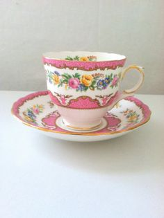 Antique English Crown Staffordshire Fine Bone China Teacup and Saucer