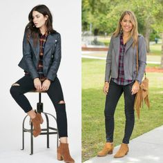 J's Everyday Fashion provides outfit ideas, budget fashion, shopping on a budget, personal style inspiration, and tips on what to wear. Office Fashion Women, Curvy Women Fashion, Womens Fashion, Petite Fashion, Fashion 2018, Grey Leather Jacket, Leather Jackets, Js Everyday Fashion, Cheap Boutique Clothing