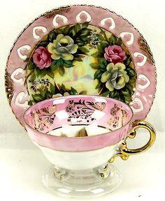 Vintage Pink Rose Gold Lustre Reticulated 3 Footed Teacup & Saucer Japan