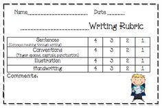 Kindergarten Writing Rubrics and Prompts Kindergarten Writing Rubric, 1st Grade Writing, Kindergarten Reading, Teaching Writing, Teaching Ideas, Teaching English, Learn English, Writing Resources, Writing Skills