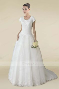 Charming Scoop Draped Wedding Dress With Court Train