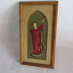 Antique Print of Arch Angel with Gilt Oak Picture Frame