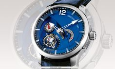 Greubel Forsey Tourbillon 24 Secondes Watch with Royal Blue Dial - Limited Edition of 33 pieces (titanium movement & platinum case). Price: $500,000.00. style, 24 second, blue, watch, second contemporain, tourbillon 24, greubel forsey, forsey tourbillon, greubelforsey