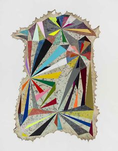 Jeffrey Gibson Someone Great is Gone, 2013  Elk hide, Acrylic Paint, Graphite, Colored Pencil