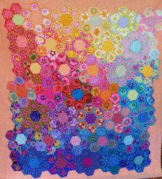 Hand pieced fussy cut hexagon quilt by Robin W., Fairholme Quilters (Australia)