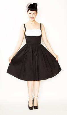 Me likey this one....but I'm gonna keep looking. Rockabilly Girl by Bernie Dexter**Black With White Shelf Bust Frenchy Swing Dress - S to XL - Unique Vintage - Homecoming Dresses, Pinup & Prom Dresses.