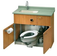this really does exist- look to medical suppliers for this and other sink / loo space-saving combos