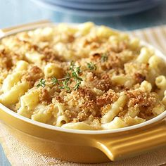 Southern Style Macaroni and Cheese baked with a bread crumb mixture.