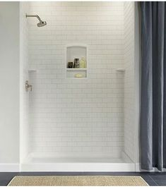 Swanstone Shower Subway Tile Wall Kit 36 x 62 x 96 - Solid Color - Swanstone Products - ePlumbing Products Inc. Basement Bathroom, Bathroom Renos, Bathroom Renovations, Bathroom Ideas, Master Bathrooms, Small Bathrooms, Concrete Bathroom, White Bathrooms, Luxury Bathrooms