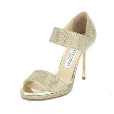 Jimmy Choo Glitter Gold Lamé Alana Sandal, Size 39 (New with Tags) - Type / Size / PMT