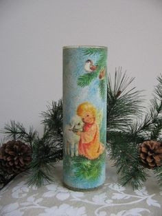 sparkle christmas candles vintage in glass - Google Search